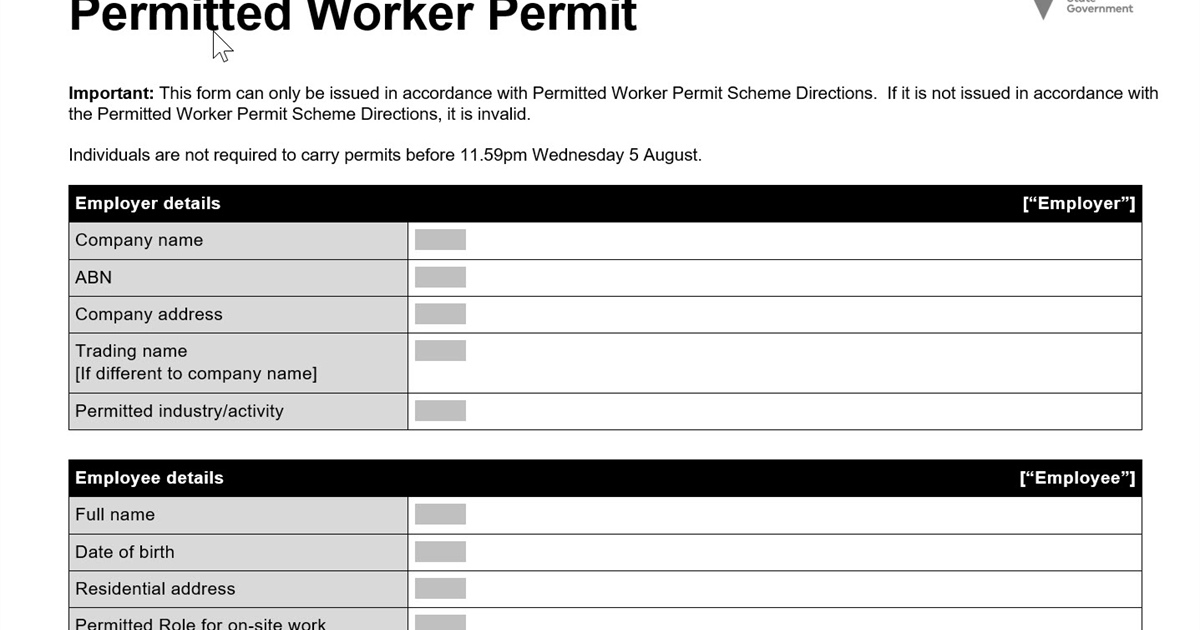 Victorian workers must carry a permit