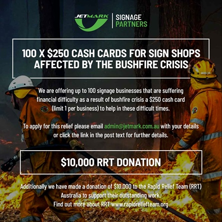 Jetmark offers support to sign shops impacted by bushfires